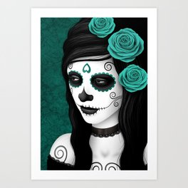 Day of the Dead Sugar Skull Girl with Teal Blue Roses Art Print
