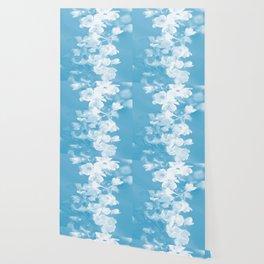 Spring Atmosphere White Flowers Sky Blue Background #decor #society6 #homedecor Wallpaper