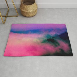 Fog Forest Mountain - Pink Rainbow Northern Lights Rug