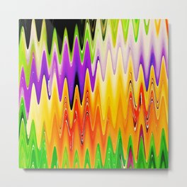 Zigzag Purple and Orange Metal Print