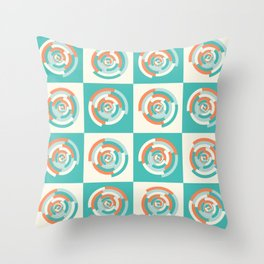 Spinning colourful rings on mint and pale yellow chessboard Throw Pillow