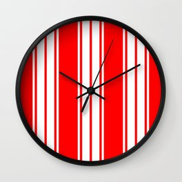 Red and White Stripes Wall Clock