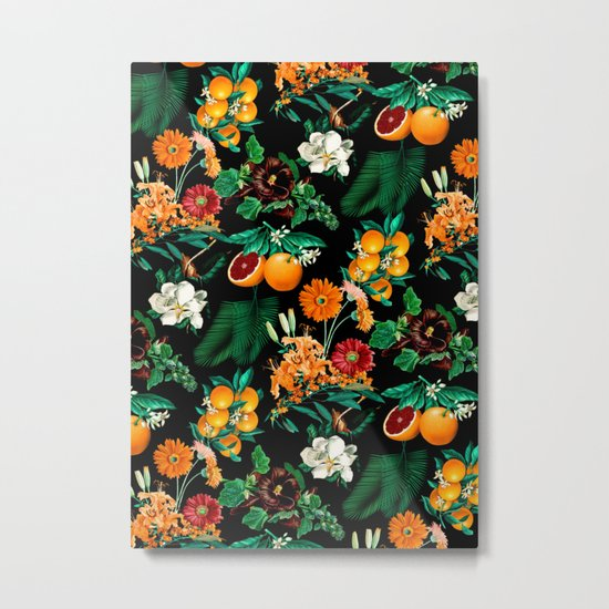 Fruit and Floral Pattern Metal Print