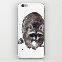 RACOON painting, wilderness nursery art, woodland animal art, racoon watercolor, cute racoon print iPhone Skin