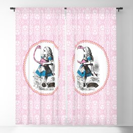 Alice in Wonderland | Alice Playing Croquet with a Flamingo and Hedgehogs | Pink Damask Pattern | Blackout Curtain
