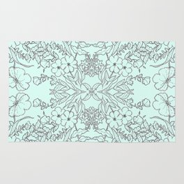 Dotted Floral Scroll in Mint and Grey Rug