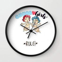 "CHUBBY GIRLS ""Rule!"" Wall Clock"