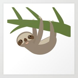 Three-toed sloth on green branch Art Print