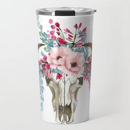 Bohemian bull skull with flowers Travel Mug