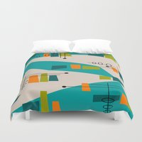 mid century modern Duvet Covers featuring Mid-Century Modern Abstract by Kippygirl