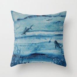 Sharks in deep blue Throw Pillow