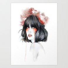 Flower Crown // Fashion Illustration Art Print