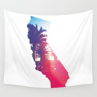 california Wall Tapestries featuring California by Justin Chou