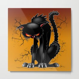 Black Cat Evil Angry Funny Character Metal Print
