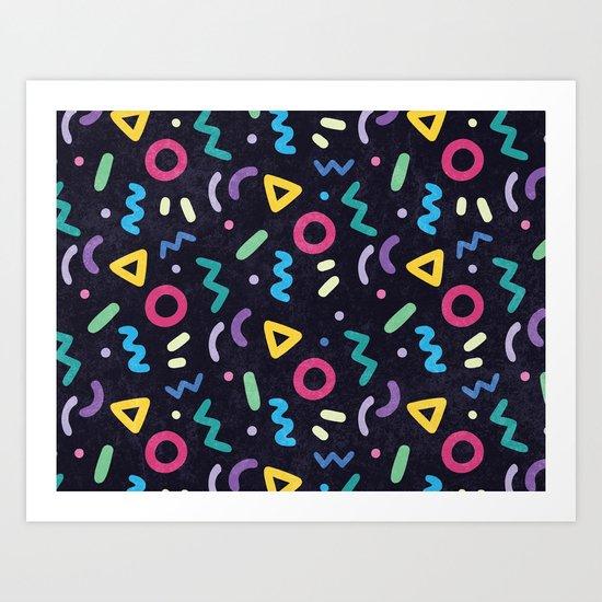 Black Memphis Pattern Art Print