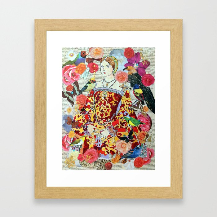 Anne Boleyn, tudor, Henry VIII, Birds, Flowers, Collage, Nature Framed Art Print
