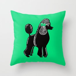 Black Standard Poodle with a Green Bow Throw Pillow