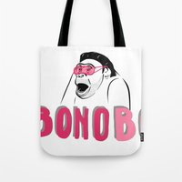 u2 Tote Bags featuring BONObo by Adrienne S. Price