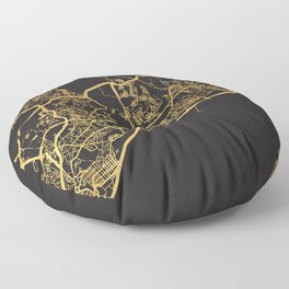 PANAMA CITY GOLD ON BLACK CITY MAP Floor Pillow