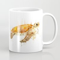 sea turtle Mugs featuring Sea Turtle  by Meg Ashford
