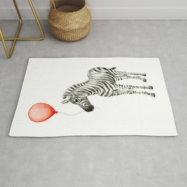 Baby Zebra with Red Balloon Rug