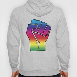 LGBTQ, Gay Rights, Equality, Social Justice, Rainbow Spectrum Power Fist, Vintage Oakland California 1971, Super Sharp PNG (4x5) Hoody