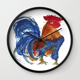 Rooster Proud watercolour by CheyAnne Sexton Wall Clock