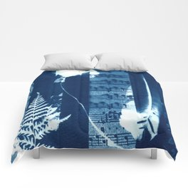 Music of the Wild Flowers, collage, blue print, cyanotype print, wall art, wall decor Comforters