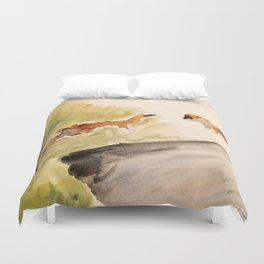 Stoat in the sunset (watercolor) Duvet Cover