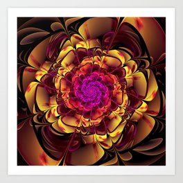 Beautiful Lantana Camara Sunrise Fractal Flowers Art Print