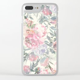 Modern Vintage Ivory Pink Coral Floral Collage Clear iPhone Case