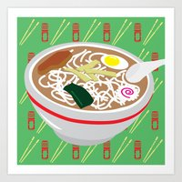 ramen Art Prints featuring Ramen by Charlton Yu