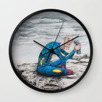 spaceman Wall Clocks featuring Spaceman by Neal Julian