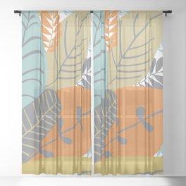 Bright Tropical Leaf Retro Mid Century Modern Sheer Curtain