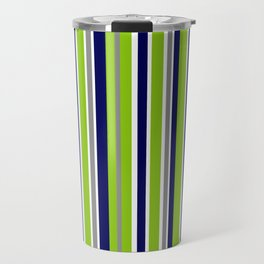 Lime Green Bright Navy Blue Gray and White Vertical Stripes Pattern Travel Mug