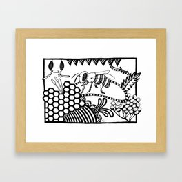 Bee black and white doodle drawing Framed Art Print
