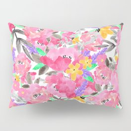 Hand painted pink lavender watercolor floral Pillow Sham