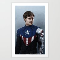 bucky barnes Art Prints featuring Bucky by E Cairns Art