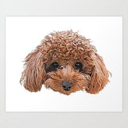 Dog Toy Poodle Barbet confusing autumn bush bust Art Print