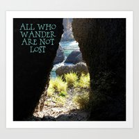 not all who wander Art Prints featuring All Who Wander by Janet Crosby