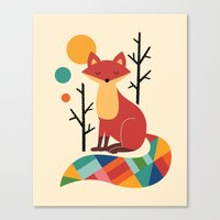 rainbow Canvas Prints featuring Rainbow Fox by Andy Westface