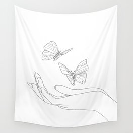 Butterflies on the Palm of the Hand Wall Tapestry