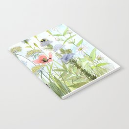 Floral Watercolor Botanical Cottage Garden Flowers Bees Nature Art Notebook