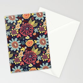 Playful Flowers with Red Leaves Stationery Cards