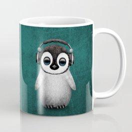 Cute Baby Penguin Dj Wearing Headphones on Blue Coffee Mug