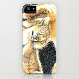 Mama and baby lion love iPhone Case