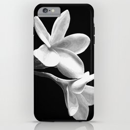 White Flowers Black Background iPhone Case