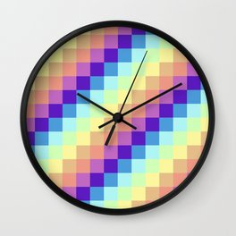 Diagonal Pixel Colorful Wall Clock