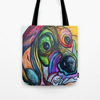 the hound Tote Bags featuring Hound Dog by EloiseArt