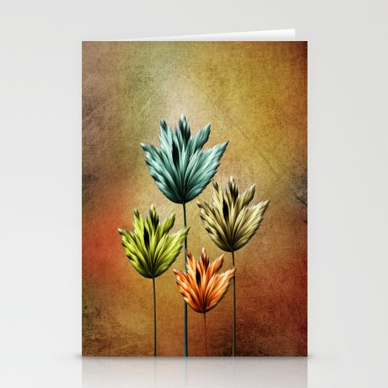 Four Fractal Flowers Stationery Cards